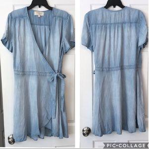Anthropologie Cloth&Stone Chambray Wrap Dress L
